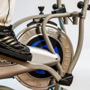 close-up of foot on elliptical trainer pedal